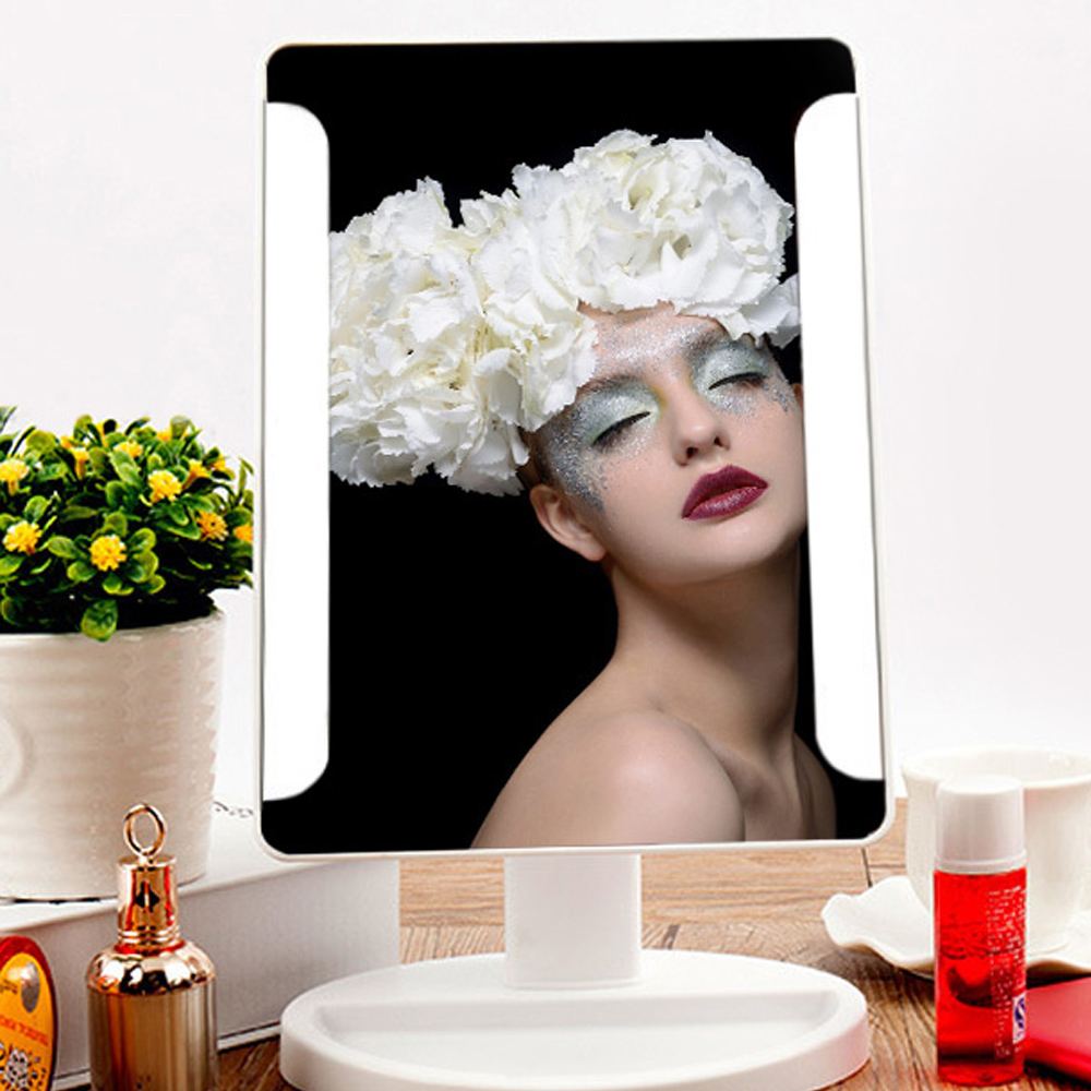 Fashion 36 LED USB Power Portable Folding Toilet Lighted Cosmetic Mirror Black White Mirrors Batte included(China (Mainland))
