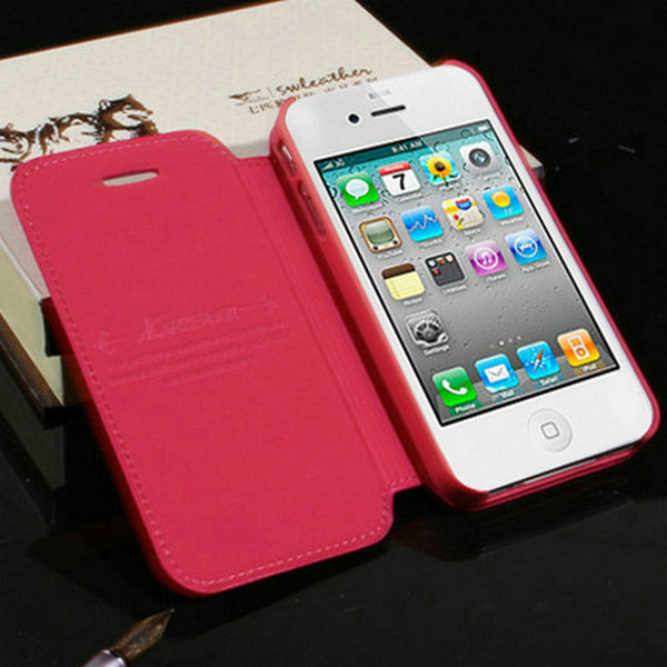 Vintage Flip Leather Case For iPhone 4 Stand Design Cover Case For iPhone 4s With Logo Protective Shell Caso Capa(China (Mainland))