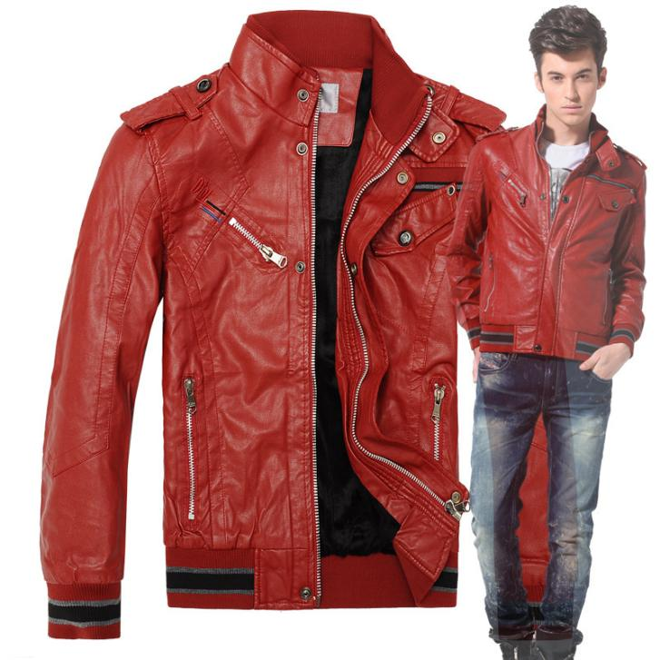 Winter new men's red motorcycle leather jackets men brief paragraph coat Spring cultivate one's morality Plus Size M-XXL(China (Mainland))