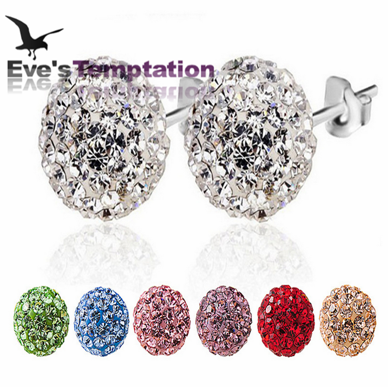 Brand Fashion Earrings 2015 Piercing Bijoux Mix Color Micro Disco Ball Earring Studs Clay CZ Crystal Earrings For Women Brincos(China (Mainland))