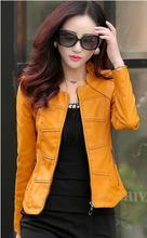 2016 Women Lerther Jackets Spring  Autumn Short Slim Casual Clothing Mandarin Collar Sheep Leather Jackets Plus Size WUJ0056(China (Mainland))