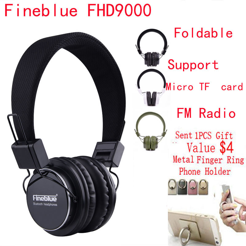 Fineblue PC Foldable Headset Collapsible FHD9000 Wireless Bluetooth Casque Audio Hifi Stereo DJ Headphones with FM Radio TF Card(China (Mainland))