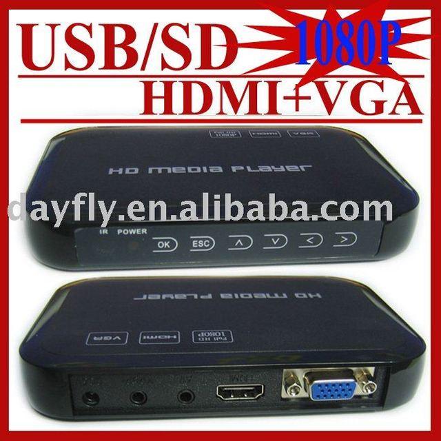 Gift&Free Shipping!JEDX HD601 USB Full HD 1080P HDD Media Player HDMI VGA MKV H.264 SD,Drop Shipping