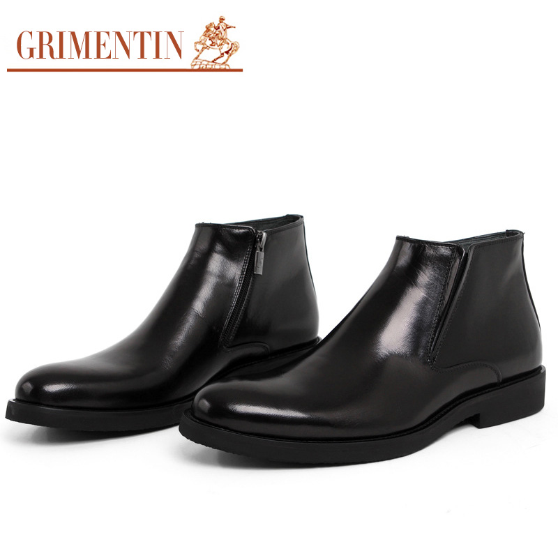 GRIMENTIN fashion genuine leather zipper winter mens boots luxury brand men shoes high quality cowhide business ankle boot zb453(China (Mainland))