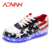 Fashion Women Led Shoes PU Lace Up Flat Chaussure Lumineuse USB Charge Breathable Zapatillas Con Luces Unisex Light Up Shoes