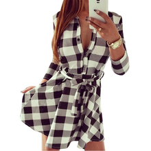 Women Check Tartan Plaid Mini Bandage Dress 3/4 Sleeve Jumper Shirt Dresses Tops