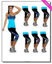 2015 new fashion women Capri Leggings High Waisted Print female Pants Fitness training Pants sports pants for women(11 Colors)(China (Mainland))