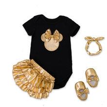 الرضع العلامة التجارية الطفل مجموعة ملابس القطن طفلة قصيرة الأكمام 4 قطع ارتداءها + الذهب الكشكشة البنطلونات + العصابة + أحذية الوليد(China)