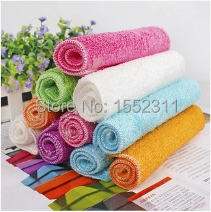 Bamboo fiber washing towel kitchen non stick oil cloth water do not drop wool double thick decontamination cleaning cloth(China (Mainland))