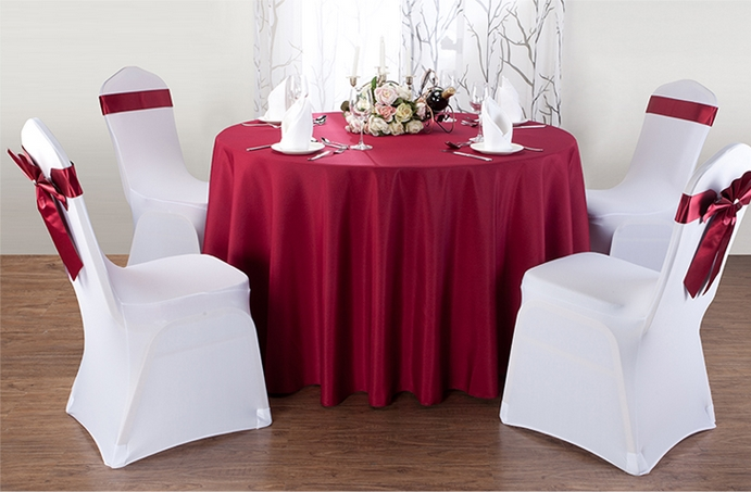 Burgandy round banquet table cloth,polyester table cover,for wedding,hotel and restaurant round tables decoration,200GSM thick(China (Mainland))