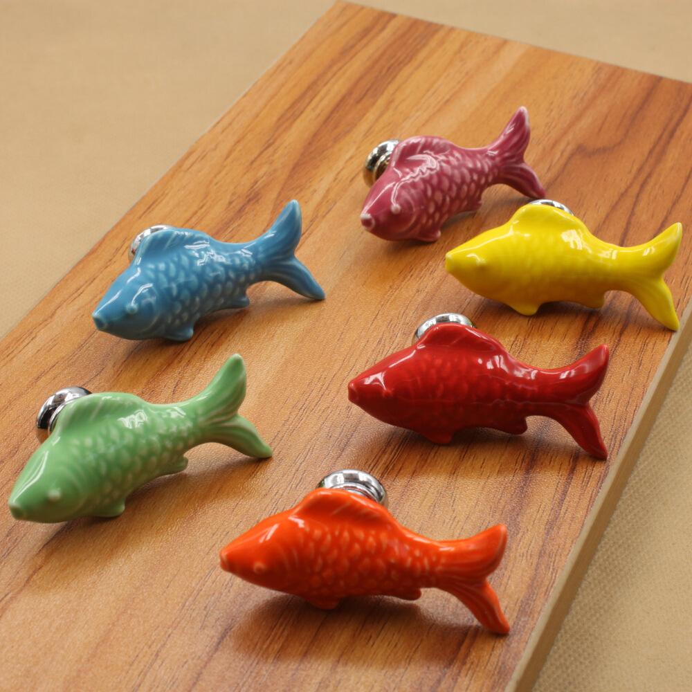 Cute fish kids drawer dresser hardware knobs ceramic china for Fish drawer pulls