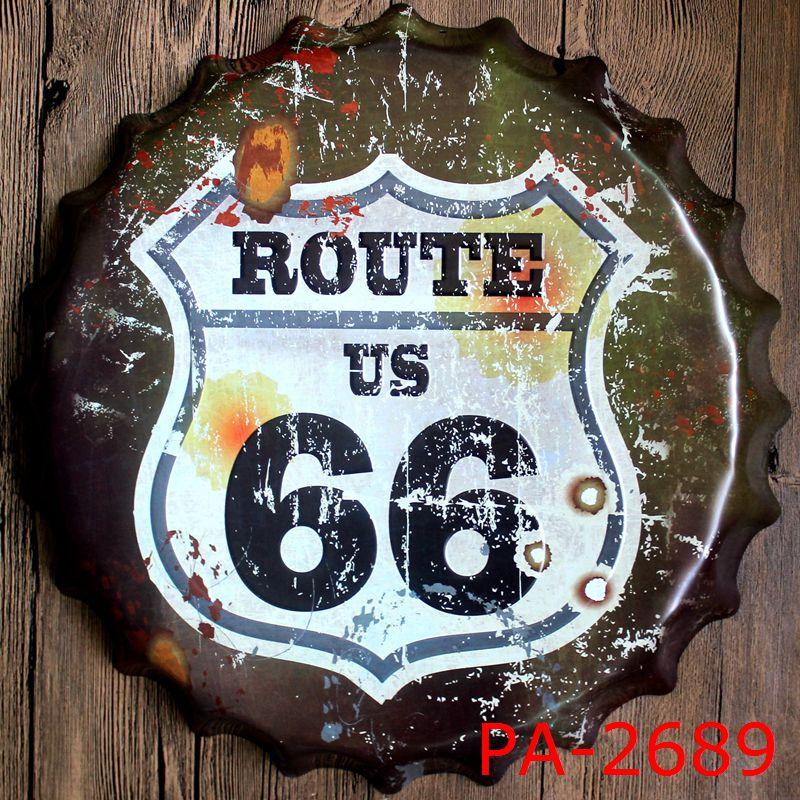 usa route 66 road bottle cap decorative metal plate plaque vintage pub wall metal sign