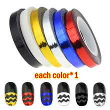 +Cheap+ 6x Waves Striping Tape Line Roll Nail Art Stickers 6mm Width Decor Tip Mixed - YCDC CO., LED store
