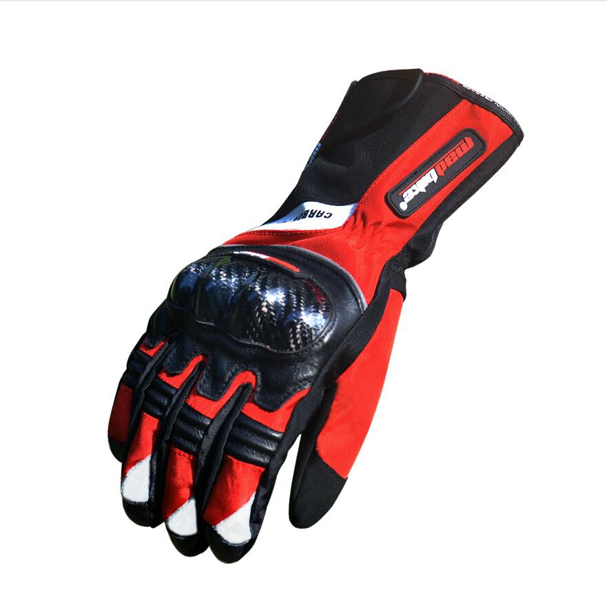 Hot Carbon Fiber Motorcycle Gloves Winter Warm Windproof