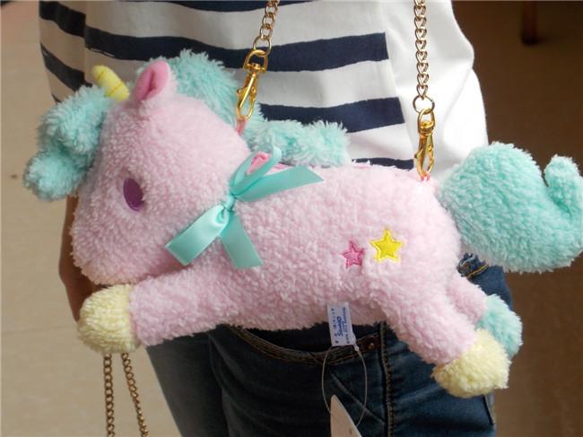 "New 10""Sanrio Little Twin Stars Pink Unicorn Bag Charm Animal Doll Plush Stuffed Toy(China (Mainland))"