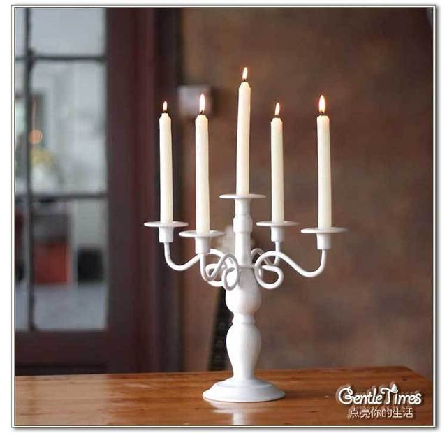 White 5 Head Metal Taper Candle Holder for Wedding Decoration Party Stuff Favors Gifts Supplies Free Shipping Hot Sale