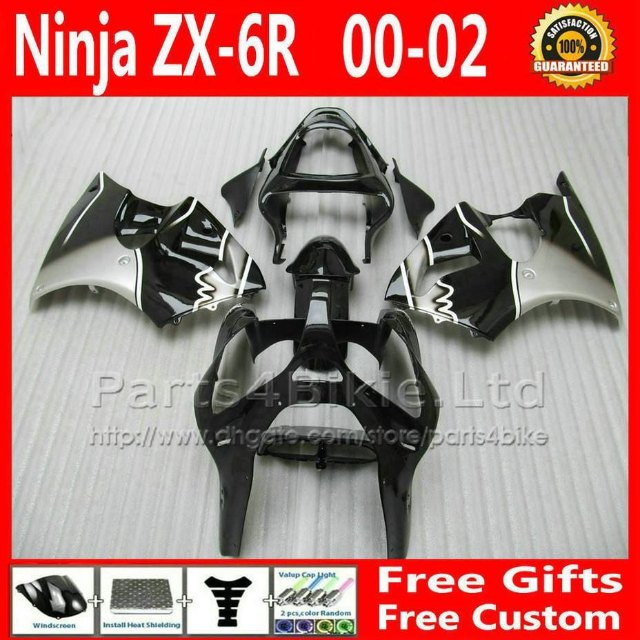 black silver Custom fairings kits for ZX6R 2000 2001 2002 Kawasaki fairing ZX 6R 636 motobike parts ZX-6R 00 01 0(China (Mainland))