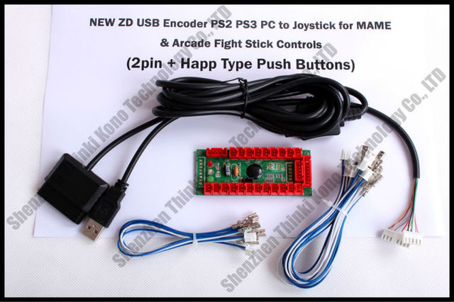 NEW 100% Zero Delay Arcade USB Encoder PS2 PS3 PC to Joystick for MAME & Arcade Fight Stick Controls 2pin + Happ Push buttons