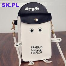 2016 Newest women summer cartoon robot shoulder bag Mobile phone small bags fashion cute letter flap messenger bags