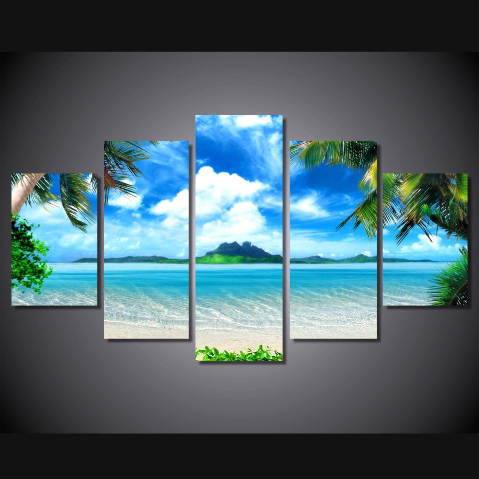 HD Printed Beach blue palm trees Painting Canvas Print room decor print poster picture canvas(China (Mainland))