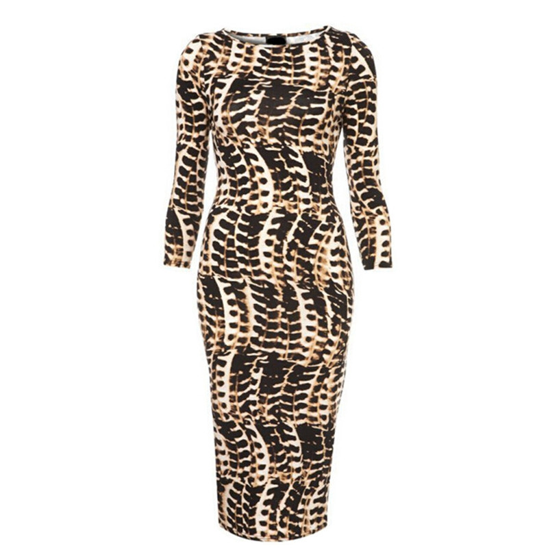Summer Dress 2015 New Fashion O Neck Women Leopard Print Slim Pencil Party Dresses Evening DressSexy Bandage Stock - Guangzhou Pretty Queen Clothing co.,LTD store