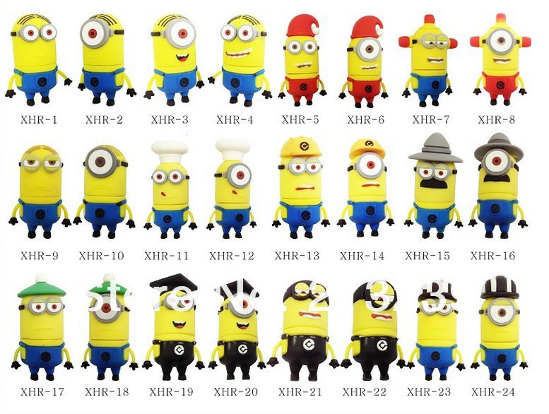 Free/Dropshipping New Cartoon Minions (Despicable Me 2) Mario/minnie/magician/King model usb 2.0 memory flash stick pen drive(China (Mainland))