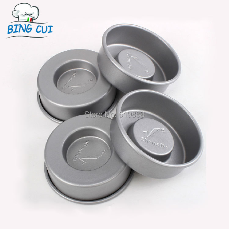 Round Carbon Steel Layer Cake Pudding Molds Sandwich Cake Mold Cupcake Pan 4 Pcs/set Non Stick Oven Baking Tools(China (Mainland))