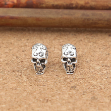 Handcrafted Thai Silver Skull Earrings Vintage 925 Silver Skull Earrings Sterling Silver Man Earrings Punk Jewelry(China (Mainland))