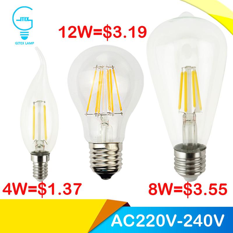 LED Лампа накаливания 4 Вт 8 Вт 12 Вт 360 градусов Ретро Эдисон Светодиодная Лампа С35 G45 А60 ST64 жилья реветь стекла Хрустальные люстры