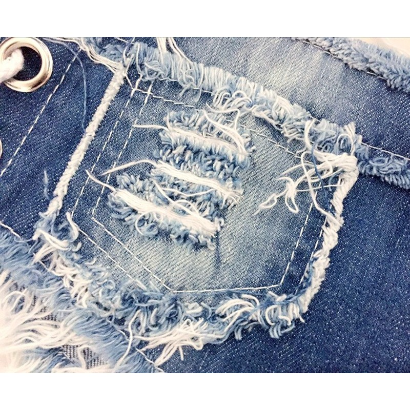 2016 Summer New Sexy Slim Skinny Lace Up Ripped Hole Burrs Cut Off Washed Low Waist Women Denim Mini Hot Beach Shorts Jeans