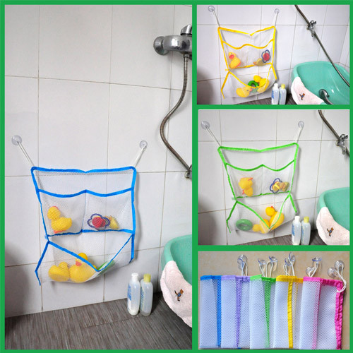 Baby shower baby bathroom toy bags bath toys suction cup storage toy bag(China (Mainland))