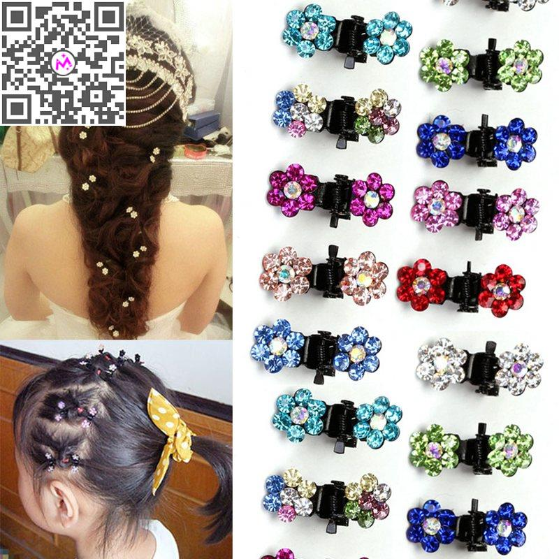 12Pcs/lot New Cute Crystal Flower Shape Mini Hair Claw Clips For Baby Girls' Kids Women Wedding Hair Accessories(China (Mainland))