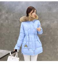 Winter women's clothing fur collar hooded down padded coat winter female long coats&jackets Army green slim jacket women TT152