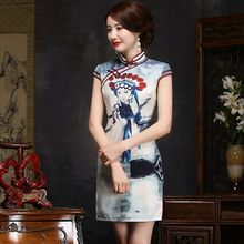Buy Classic Ladies Satin Mini Cheongsam Hot Sale Traditional Chinese Style Qipao Dress Vestido Clothing Size S M L XL XXL 276103 for $39.00 in AliExpress store