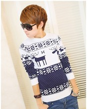 Hot Selling Fashion Sport Christmas Deer ugly Sweater For Man Warm Knitted Wool Sweaters Casual Plus Size Pullover Knitwear