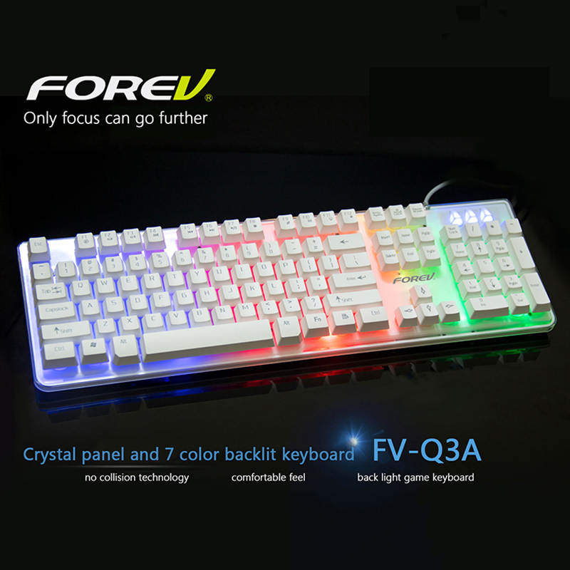 Crystal Panel 7-Color Colorful Backlit Computer Gaming Keyboard USB Powered for Desktop Laptop Mechanical Keyboard Feeling Wired(China (Mainland))