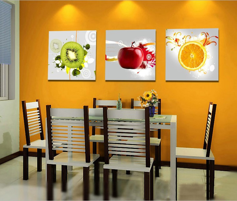 Modern Paint for Walls 3 Piece Wall Art Fruit Pictures For Kitchen Decors Red Apple Orange Green Kiwi Color Artwork For Dinning(China (Mainland))