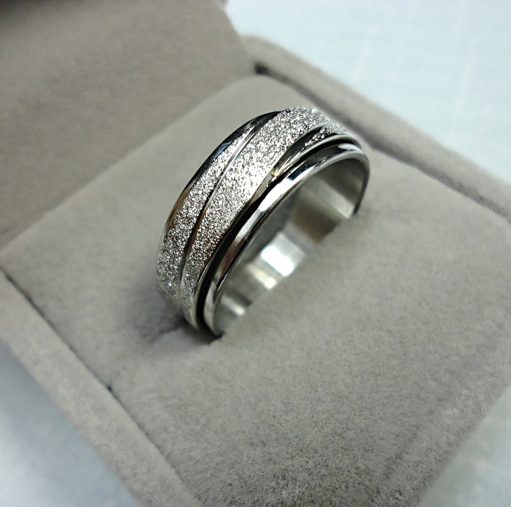 2015 HOT Fashion Fashion top cool Double Spin Women Men Frosted Silver Band Stainless steel Ring