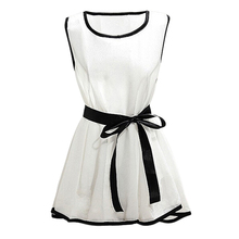 New Hot Summer Chiffon Blouses Elegant Women Slim Fit White Shirts Blusas Mujer Casual Sleeveless Tops With Belt