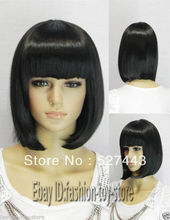 Wholesale free shipping >>2012 Stylish Short Hair Wig Fashion Women Bob Cosplay Wigs Black(China (Mainland))