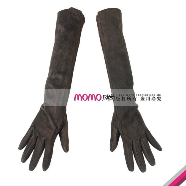 Limited edition hot-selling women's nubuck leather sheepskin long gloves design genuine leather gloves