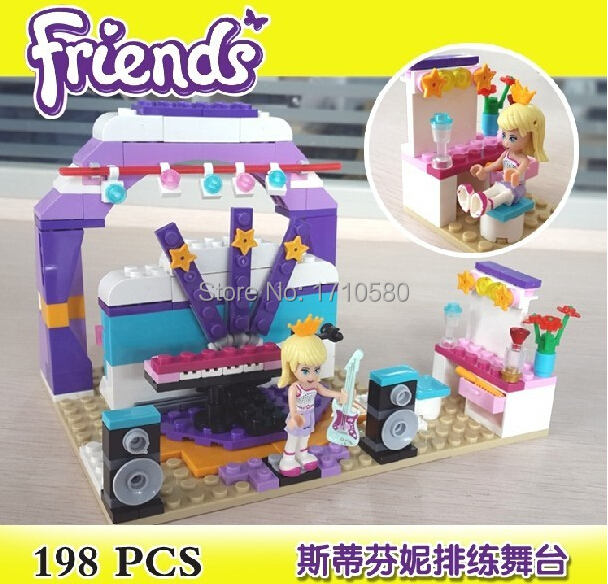 Girls Friends Stephenie Rehearsal Stage Andrea Model Building Blocks BELA 10155 198pcs Minifigures Toys Lego Compatible(China (Mainland))