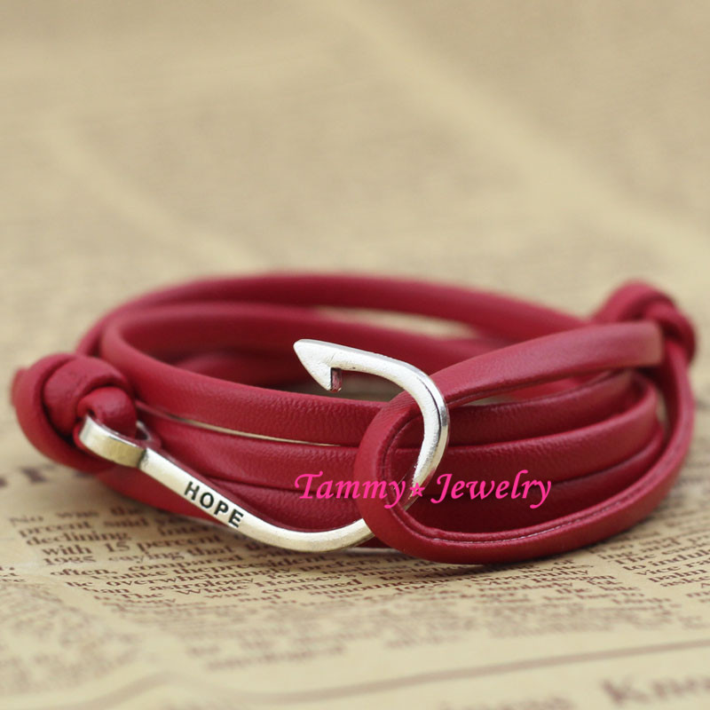 MYLB0214 Fashion Jewelry Best Selling Silver Plated Fish Hooks Adjustable Women Leather Bracelet Men Bangle Gift