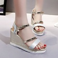 2017 Summer Women s Glitter Ankle Strap Wedges Espadrilles Sandals