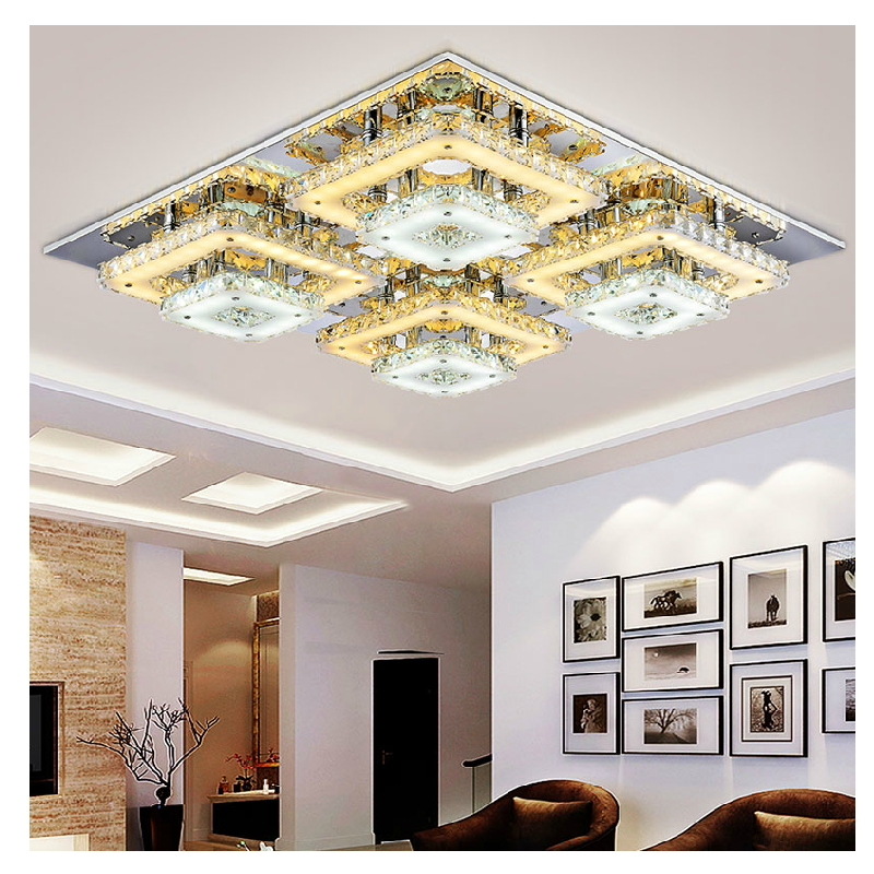 Art deco remote control square flush mount crystal ceiling for Living room ceiling lights