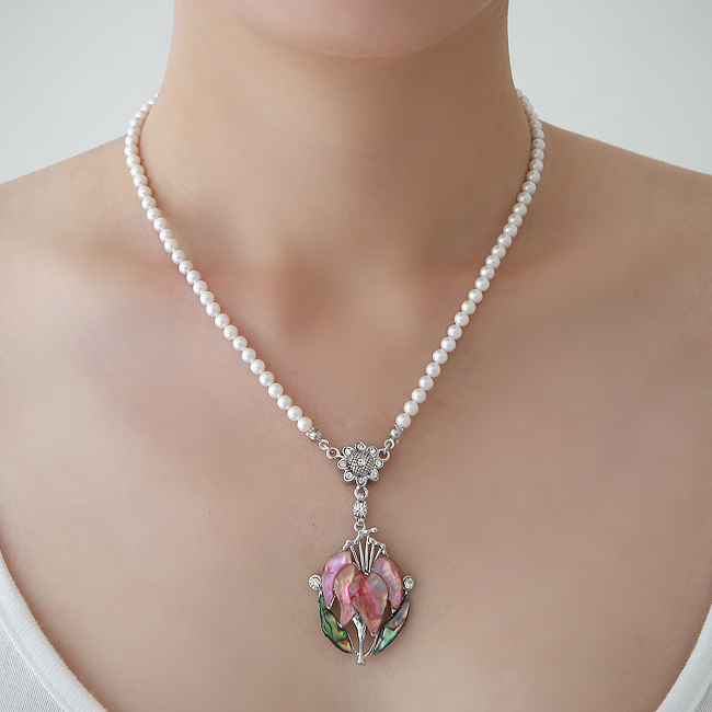 Mother of Pearl Pink Orchid Flower Shell 6-7mm Natural Saltwater White Fine Pearl Bead Chain Luxury Party Bride Pendant Necklace