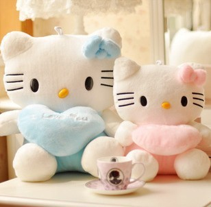 "Hello kitty wedding toy a couple,PP cotton, short plush ,the big 45cm(17.8"") and the small35cm(13.8"") HIGHT"