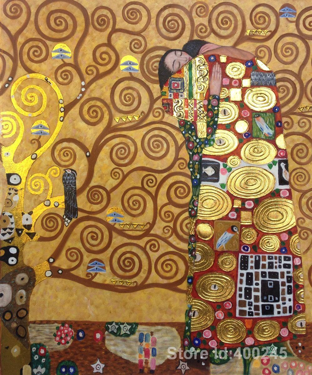 Hand painting art Fulfillment (Golden) of Gustav Klimt reproduction oil Canvas Handmade High quality(China (Mainland))