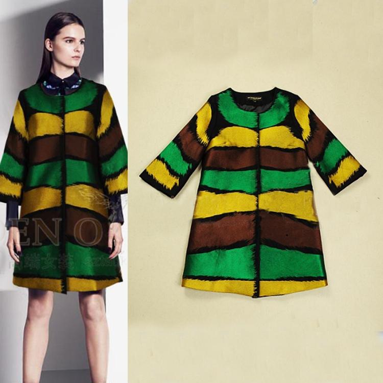 Free Shipping!  2013 winter high Quality top grade long sleeve wide-waisted striped women long coats