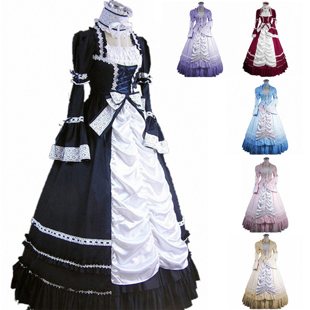 2015 Sleeveless Southern Bell Dress Gothic Lolita Victorian Party Halloween Costumes Adult Customized - Partiss store